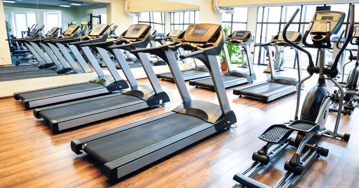 Treadmill in spacious gym