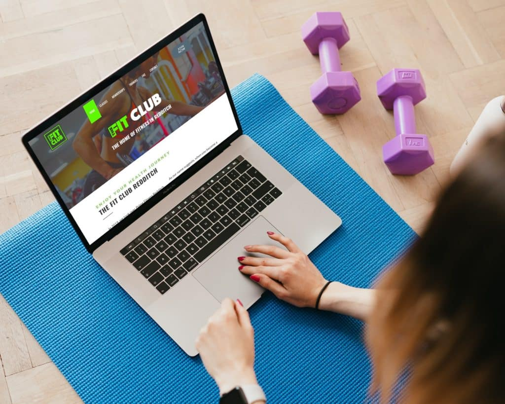 Fit Club Website example on laptop